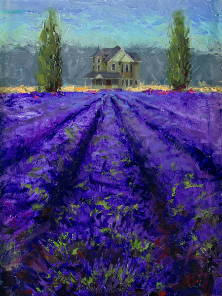 Painting - Just Beyond - Plein Air Lavender Landscape Impressionistic Painting by Karen Whitworth