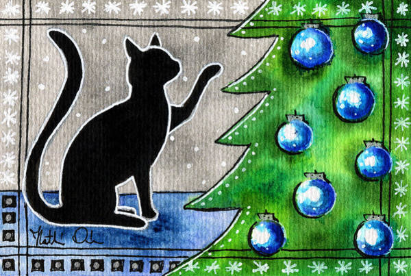 Just Counting Balls - Christmas Cat Art Print