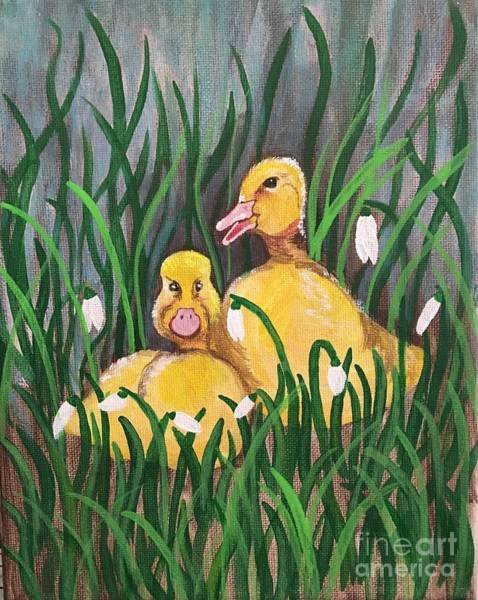 Snowdrop Painting - Just Ducky by Lindsay Smith