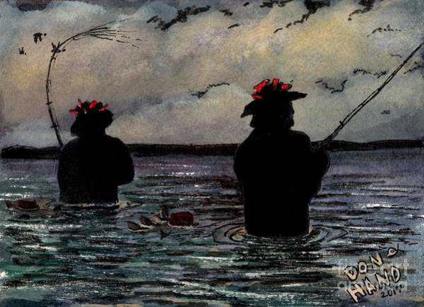 Central Texas Painting - Just Fishing by Don Hand