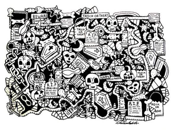 Trick Or Treat Drawing - Just Halloweeny Things by Chelsea Geldean