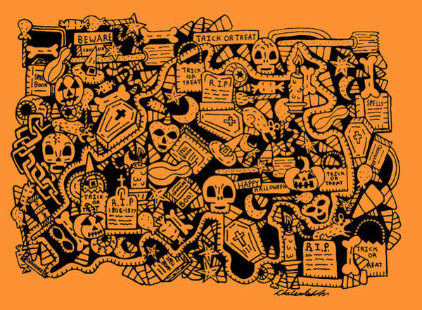Trick Or Treat Drawing - Just Halloweeny Things V7 by Chelsea Geldean