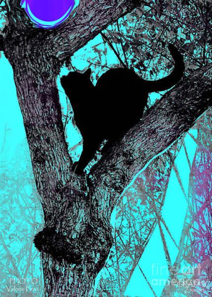 Organic Abstraction Mixed Media - Black Cat- Violet Moon by Zsanan Studio