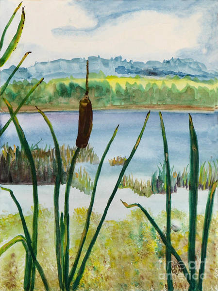 Adirondack Mountains Painting - Just One Cattail by Christine Dekkers