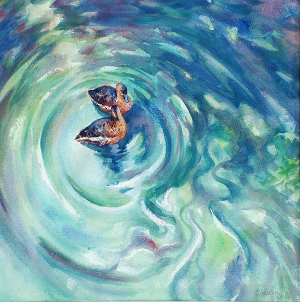 Wall Art - Painting - Just Swimming by Ekaterina Mortensen