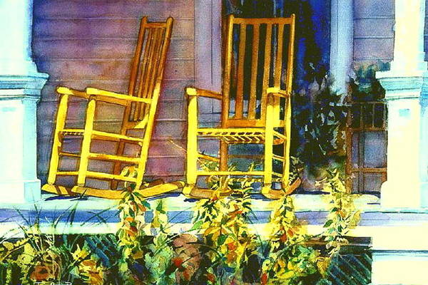 Porch Painting - Just The Two Of Us Now  by June Conte  Pryor