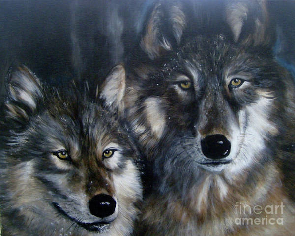 Painting - Just Us Two - Pair Of Snow Wolves by Julie Bond