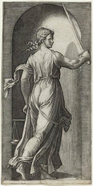 Drawing - Justice by Marcantonio Raimondi