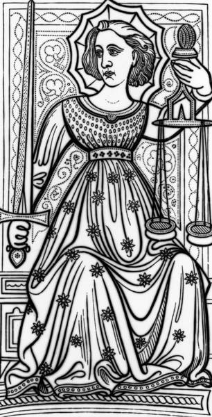 Magical Drawing - Justice Tarot Card by Italian School