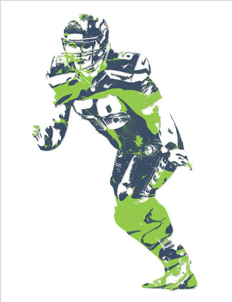 Wall Art - Mixed Media - Justin Britt Seattle Seahawks Pixel Art 2 by Joe Hamilton