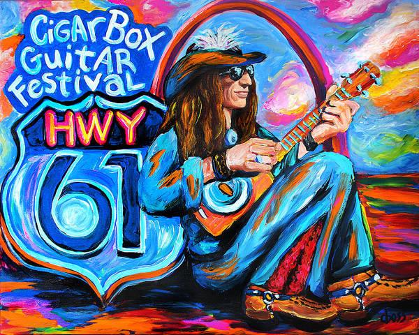 St Louis Arch Painting - Justin Johnson Hwy 61 Cigar Box Guitar Festival by Carol Boss