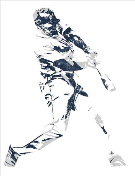 Wall Art - Mixed Media - Justin Upton Detroit Tigers Pixel Art 1 by Joe Hamilton
