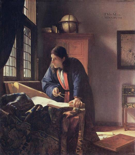 Postmark Painting - J.vermeer - The Geographer by Johannes Vermeer