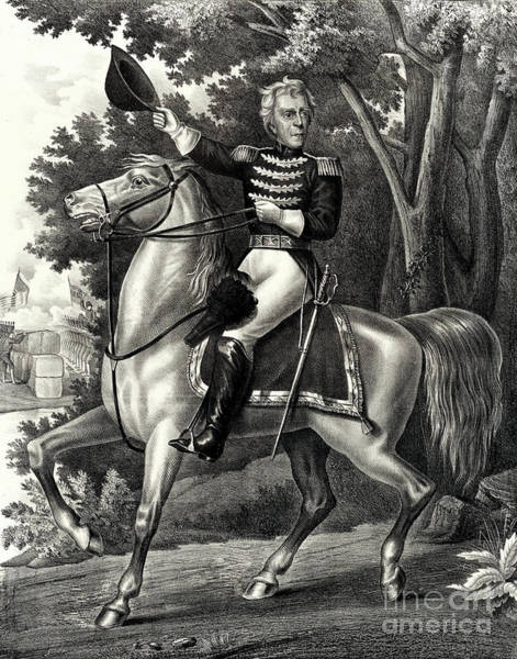 Wall Art - Drawing - Andrew Jackson With The Tennessee Forces On The Hickory Grounds by American School