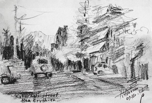 Car Drawing - K Varnali Street Nea Erythraia  by Ylli Haruni