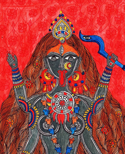 Hindu Goddess Wall Art - Painting - Kaali- The Fierce Form by Shishu Suman