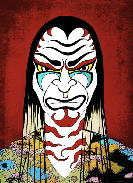 Primary Colors Drawing - Kabuki Warrior by Shawna Rowe