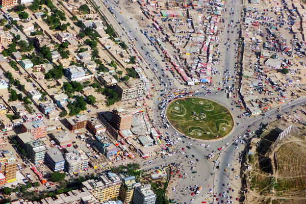 Kabul Traffic Circle Aerial Photo Art Print