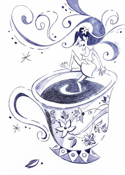 Wall Art - Drawing - Kaffee - Arte Cafe - Coffee Cup Drawing by Arte Venezia