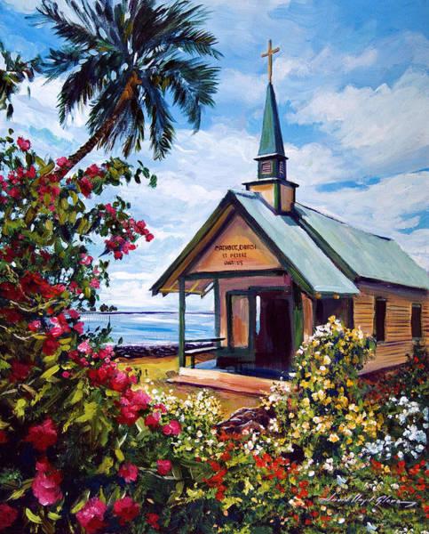 Hawaiian Islands Wall Art - Painting - kahaalu Church Hawaii by David Lloyd Glover