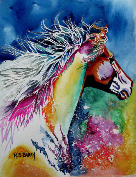 Horse Head Painting - Kalaidascope by Maria Barry