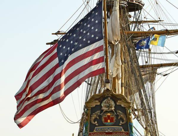 Photograph - Kalmar Nyckel American Flag by Alice Gipson