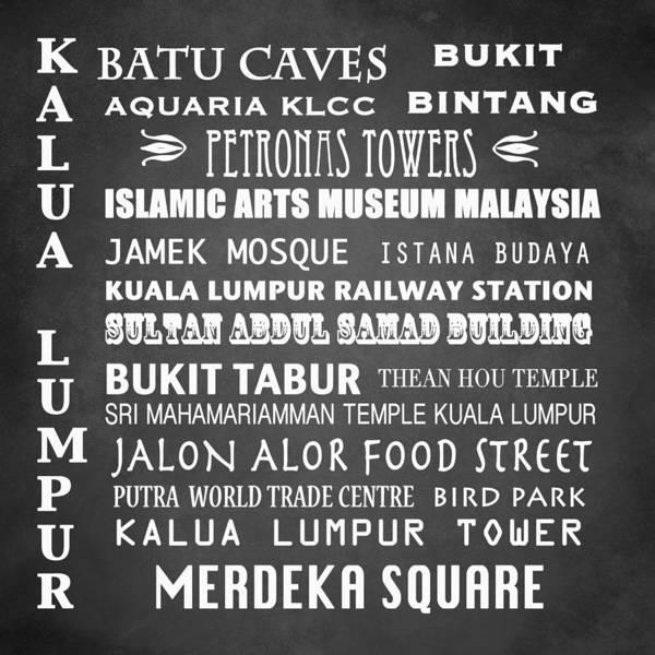 Wall Art - Digital Art - Kalua Lumpur Famous Landmarks by Patricia Lintner