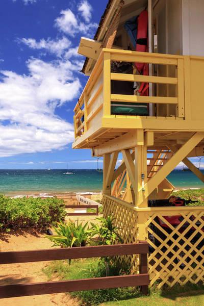 Surfboard Fence Photograph - Kamaole Beach Lifeguard Tower by James Eddy