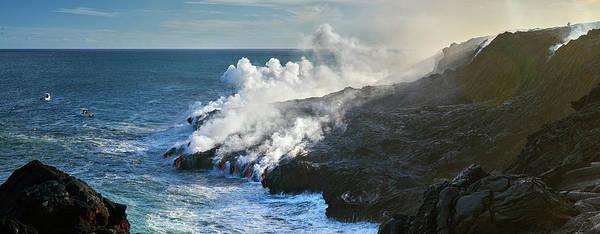 Steam Boat Photograph - Kamokuna Lava Ocean Entry by Christopher Johnson
