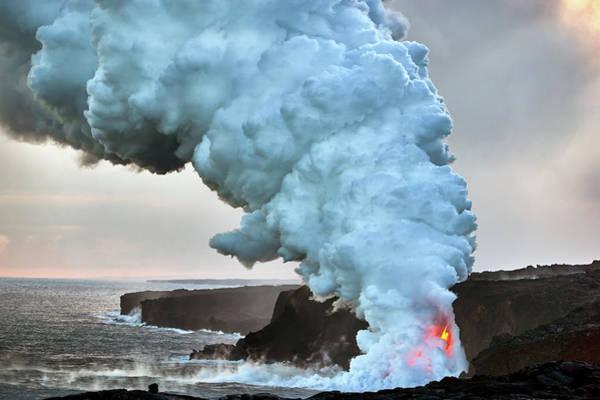 Magma Wall Art - Photograph - Kamokuna Plume by Christopher Johnson