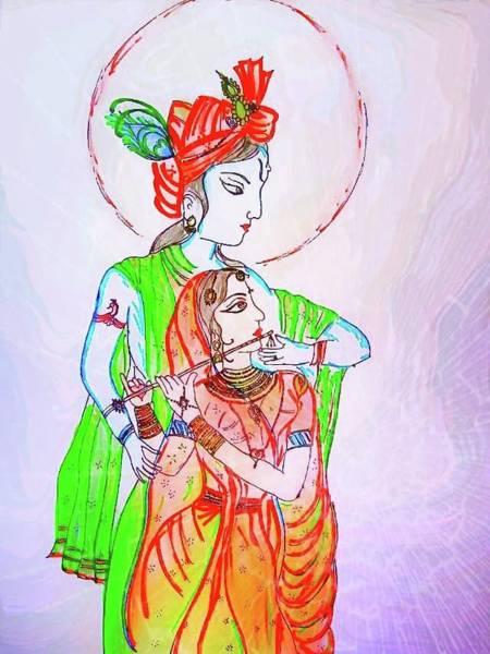 Kannan Painting - Kannan Radhai Painting by Mangaleshwari Ramakrishnan