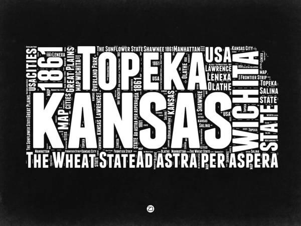 Wall Art - Digital Art - Kansas Black And White Word Cloud Map by Naxart Studio