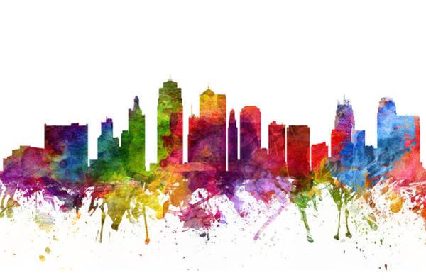 Kansas Digital Art - Kansas City Cityscape 06 by Aged Pixel