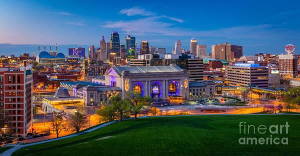 Wall Art - Photograph - Kansas City Evening Panorama by Inge Johnsson
