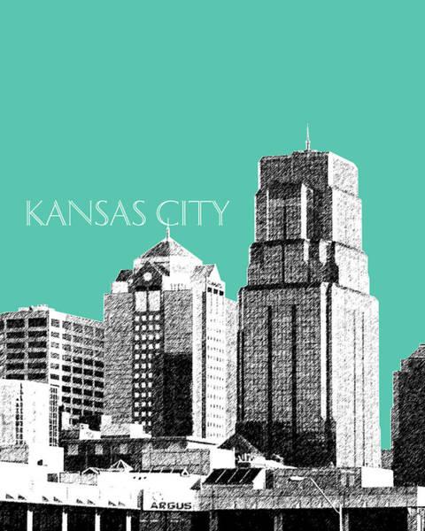 Wall Art - Digital Art - Kansas City Skyline 1 - Teal by DB Artist