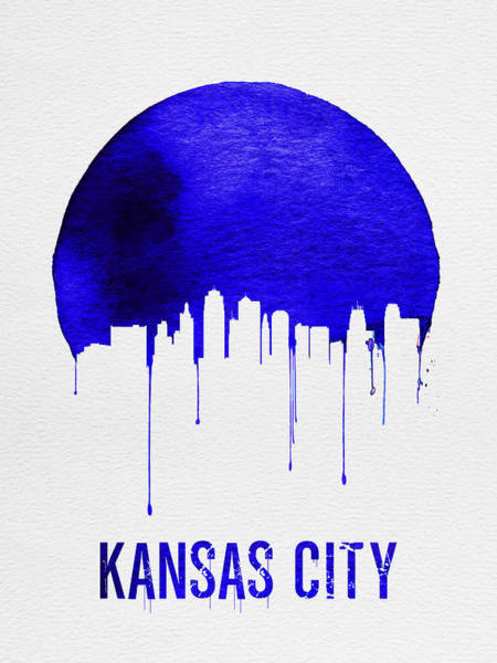 Wall Art - Painting - Kansas City Skyline Blue by Naxart Studio