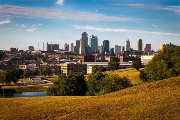 Photograph - Kansas City Skyline From Scout Statue  by Jeff Phillippi