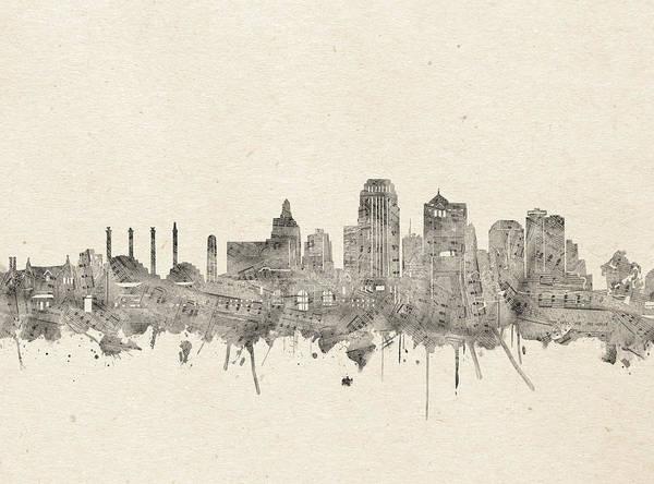Kansas Digital Art - Kansas City Skyline Music Notes 2 by Bekim Art