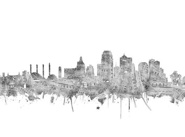 Kansas Digital Art - Kansas City Skyline Music Notes by Bekim Art