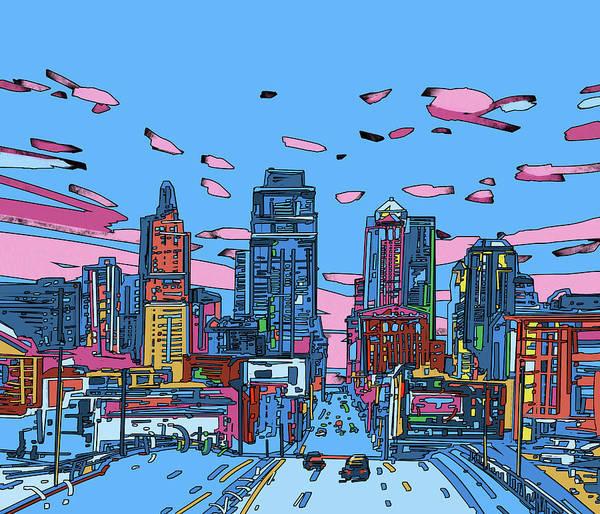 Kansas Digital Art - Kansas City Skyline Panorama 4 by Bekim Art