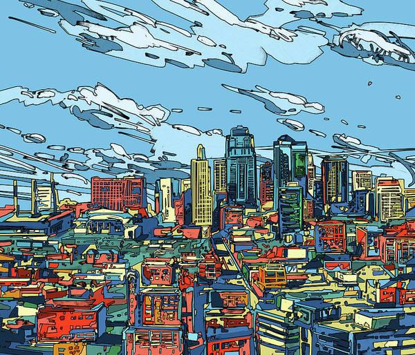 Kansas Digital Art - Kansas City Skyline Panorama by Bekim Art