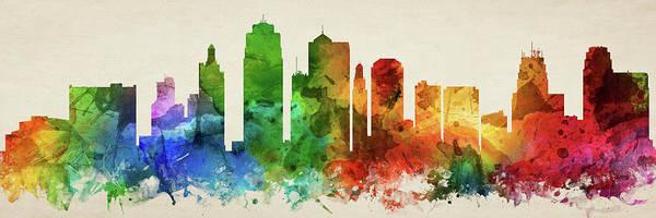 Wall Art - Digital Art - Kansas City Skyline Panorama Usmokc-pa03 by Aged Pixel