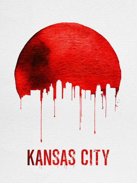 Wall Art - Photograph - Kansas City Skyline Red by Naxart Studio