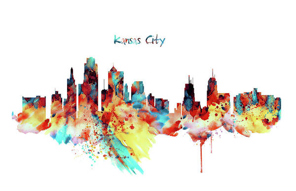 Wall Art - Painting - Kansas City Skyline Silhouette by Marian Voicu