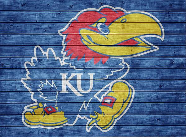 Wall Art - Mixed Media - Kansas Jayhawks Barn Door by Dan Sproul