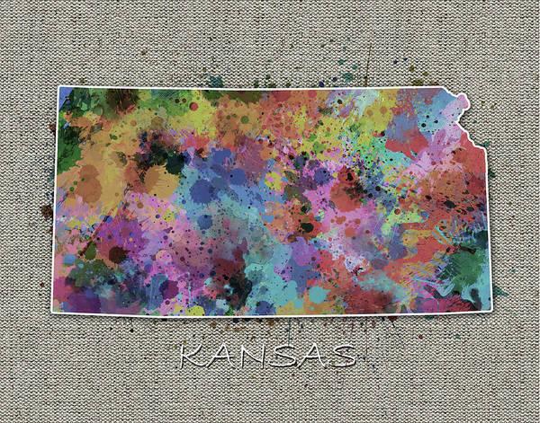 Topeka Wall Art - Digital Art - Kansas Map Color Splatter 5 by Bekim M