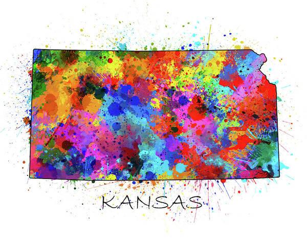 Topeka Wall Art - Digital Art - Kansas Map Color Splatter by Bekim M