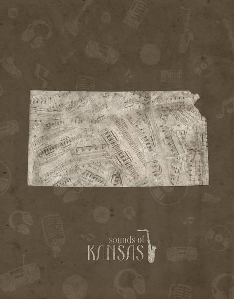 Topeka Wall Art - Digital Art - Kansas Map Music Notes 3 by Bekim M