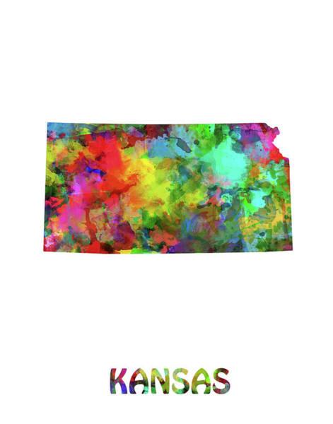 Topeka Wall Art - Digital Art - Kansas Map Watercolor by Bekim M