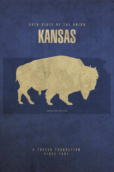 Topeka Wall Art - Mixed Media - Kansas State Facts Minimalist Movie Poster Art by Design Turnpike